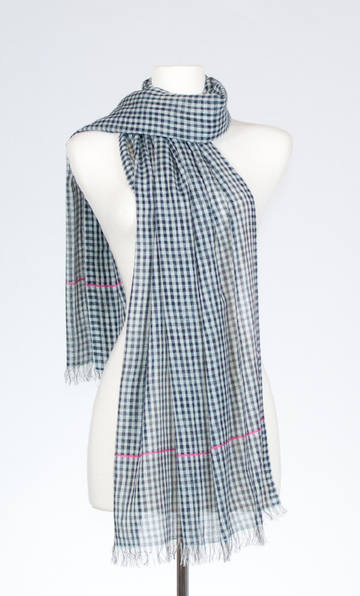 Cheque and Pinstripe Cotton Scarf in Powder & Fuschia