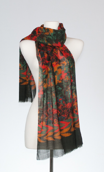 Bohemian Merino and Silk Scarf in Crimson