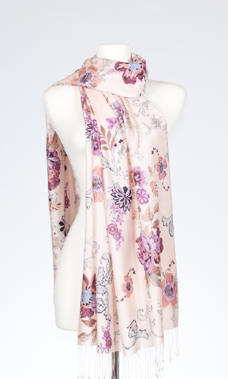 Orchid Silk Stole with Efflorescent Print