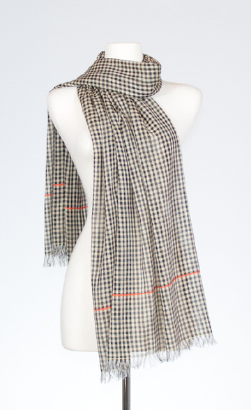Cheque and Pinstripe Cotton Scarf in Orange & Creme