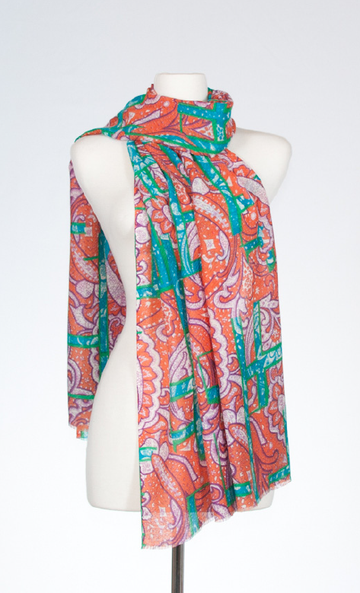 Paisley Geometric Silk and Merino Stole in Coral