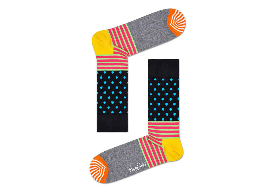 Happy Socks Men's Stripes & Dots: Pink and Green Stripe