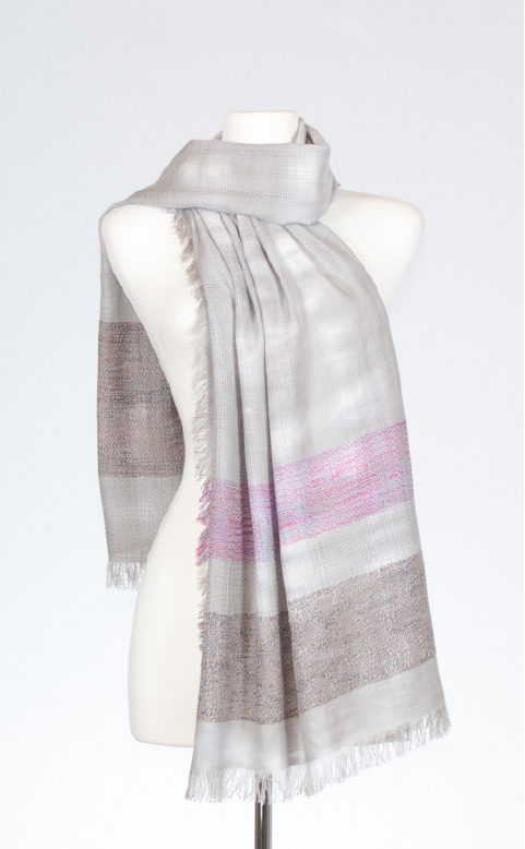Cotton Stole with Textured Weave Designs in Tourmaline