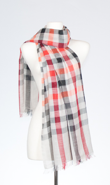 Tangerine Cotton Scarf with Cheque Deisgn