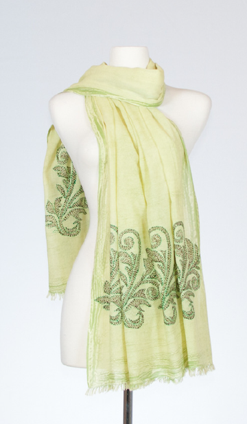 Enzyme Washed and Embroidered Cotton Scarf in Pistachio