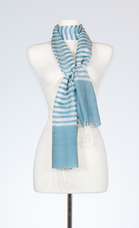 Silk and Merino Scarf with Pinstripe Design in Flint