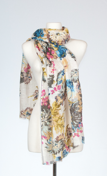 Silk and Linen Blue Chrysanthemum Scarf