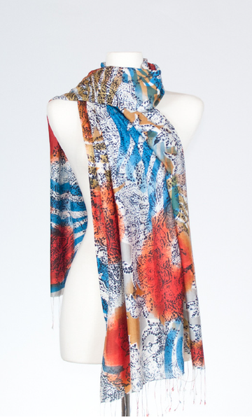 Silk Stole with Abstract Henna Print in Pomegranate