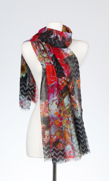 Phlox Merino and Silk Scarf