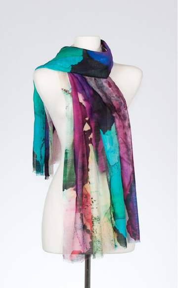 Violaceous Merino and Silk Scarf