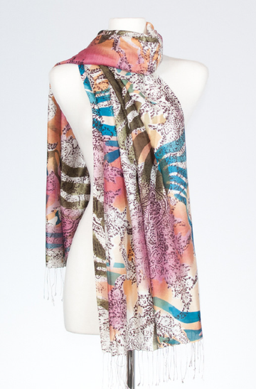 Silk Stole with Abstract Henna Print in Mauve