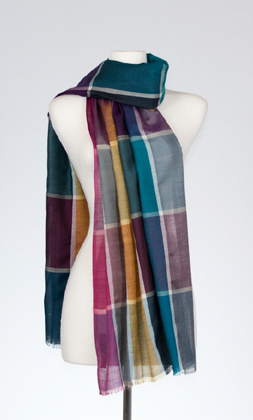 Chartres Silk and Merino Stole with Leadlight Design
