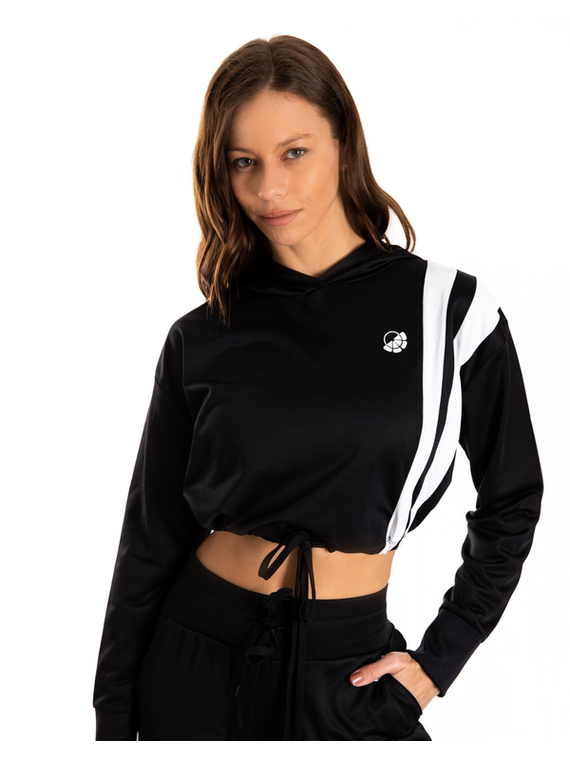 Emma Striped Hoodie - Black & White