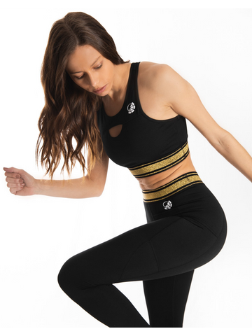 Ava Sports Bra - Black & Gold