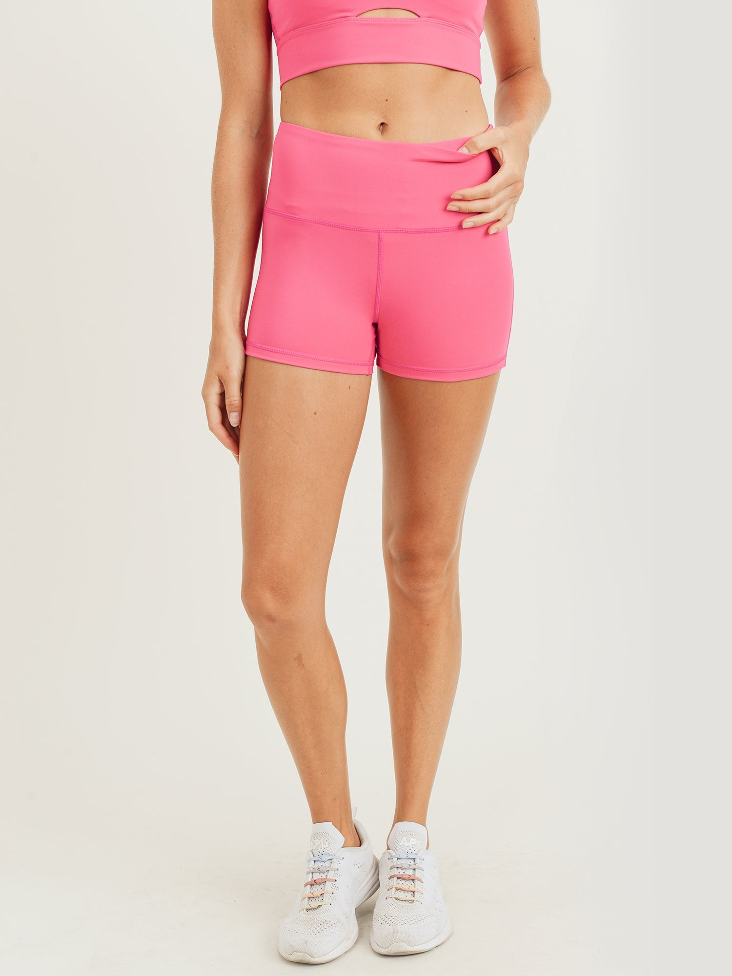 Layla Eco High Waisted Shorts - Pink
