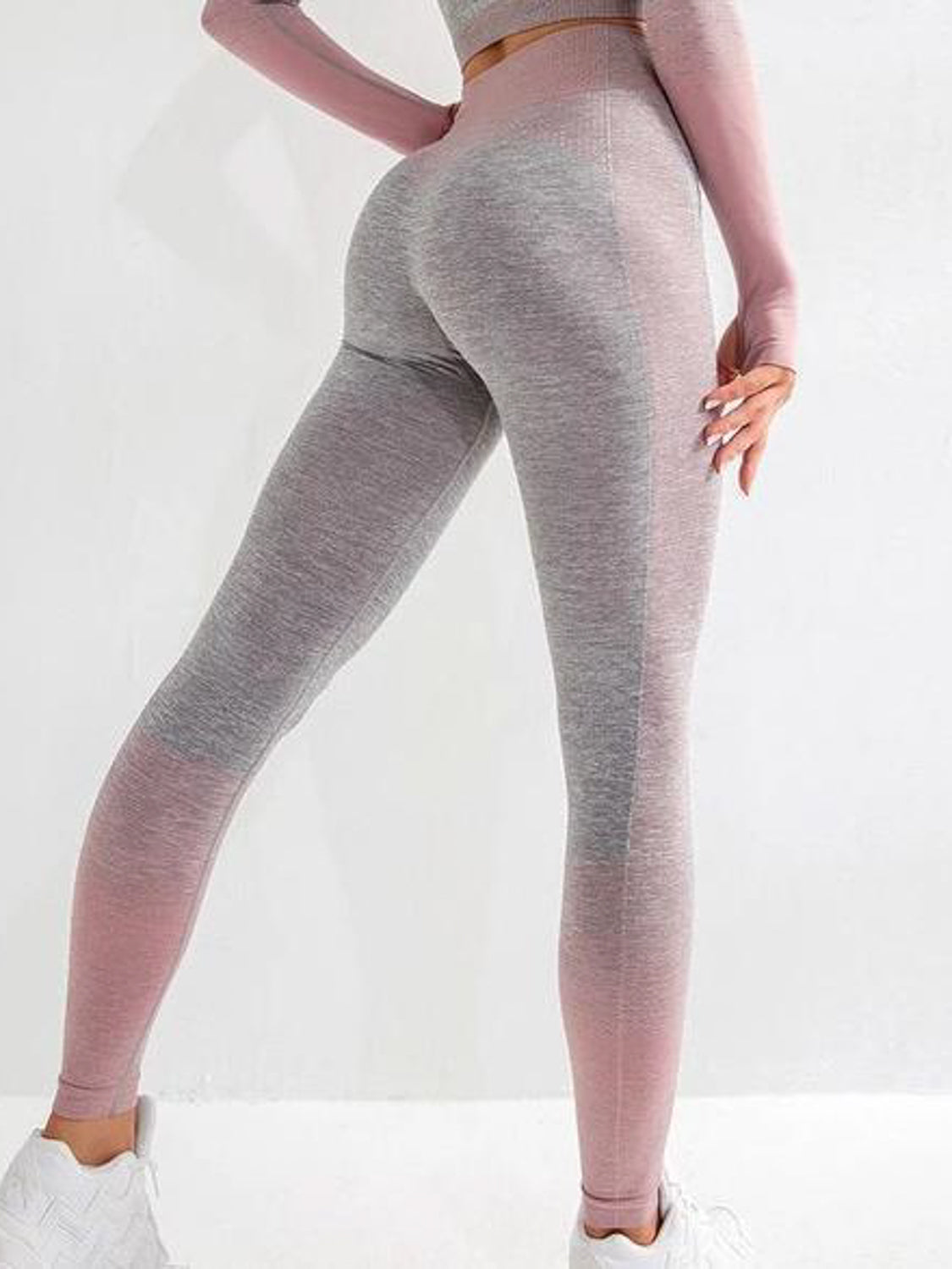 MOVI Rise Full Length Leggings - Grey/Pink