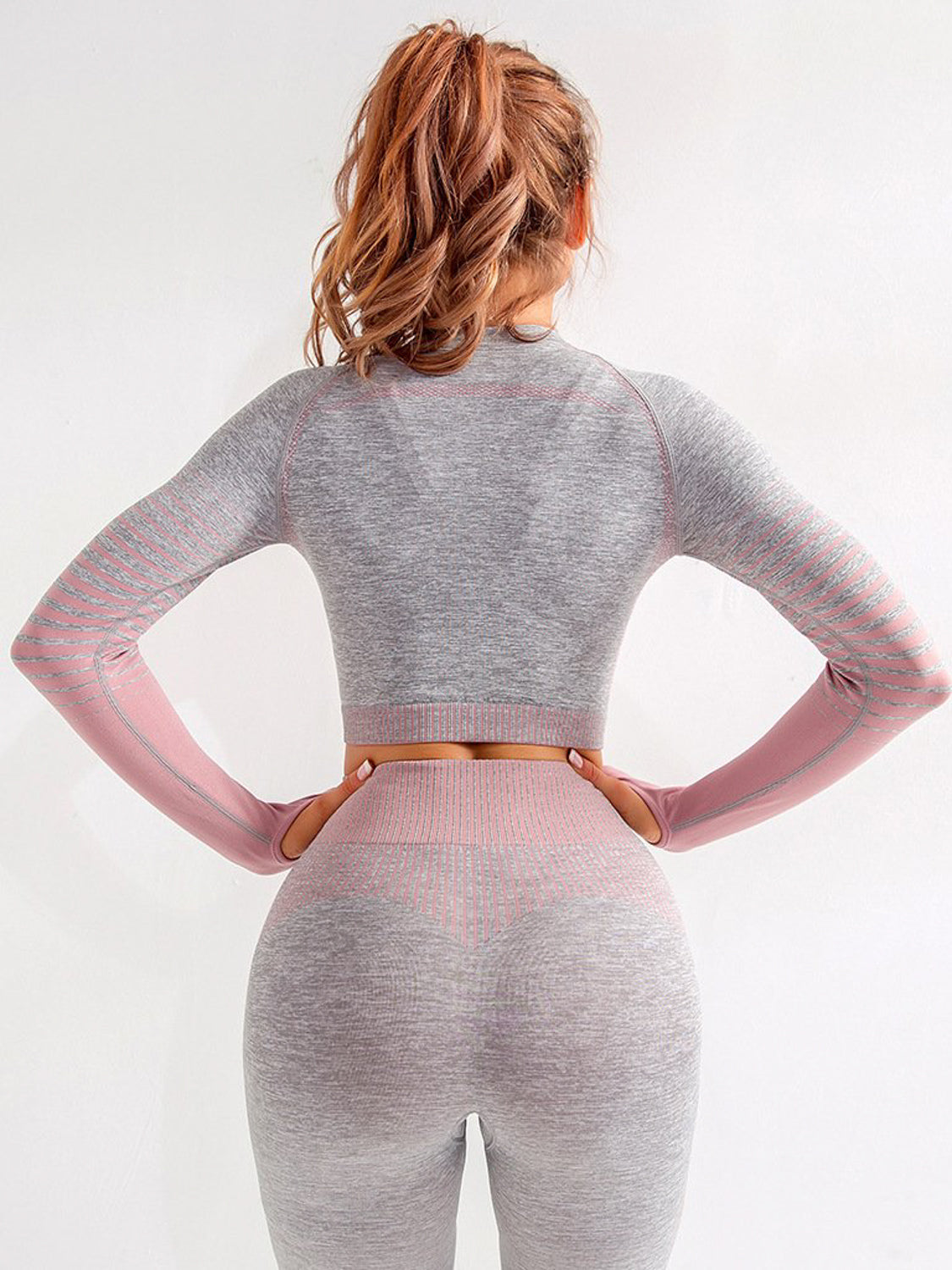 MOVI Rise Sleeved Crop - Grey Pink