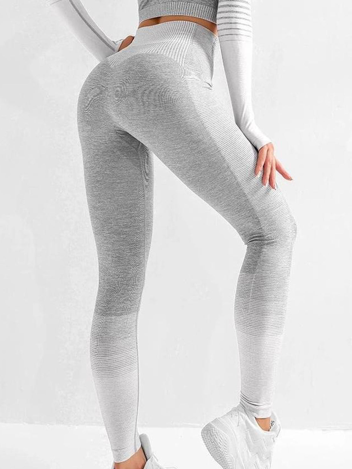 MOVI Rise Full Length Legging - Grey/White