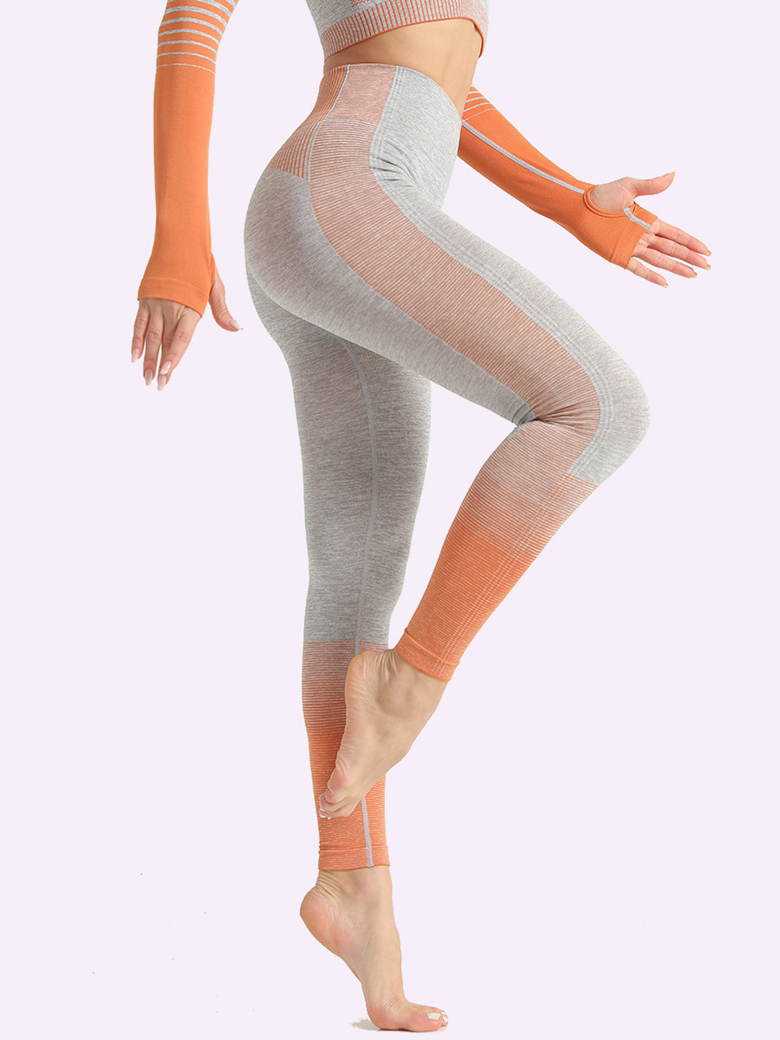 MOVI Rise Full Length Leggings - Grey/Orange