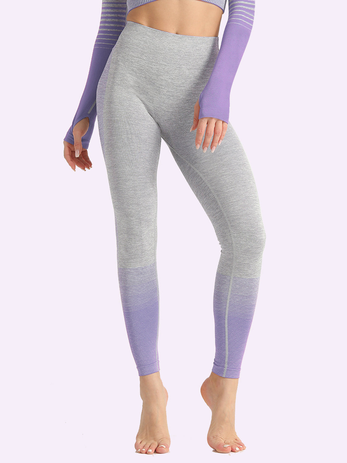 MOVI Rise Full Length Leggings - Grey/Purple