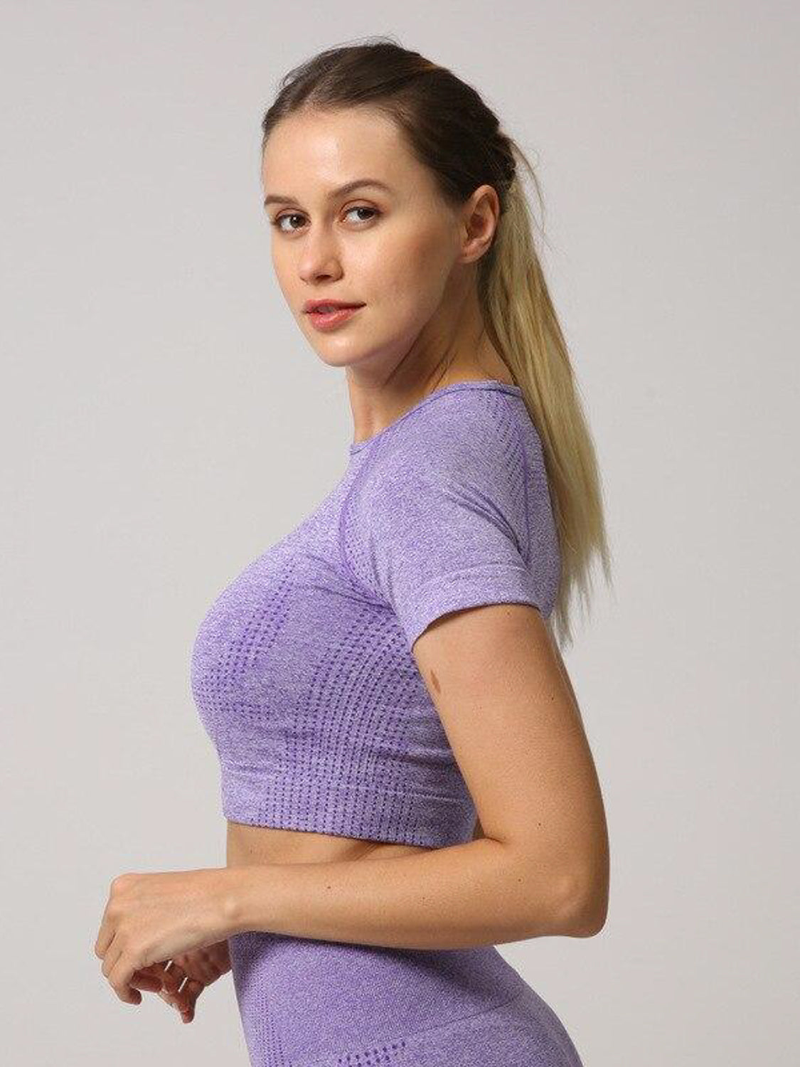 MOVI Sculpt+ Flex Cropped Tee in Purple