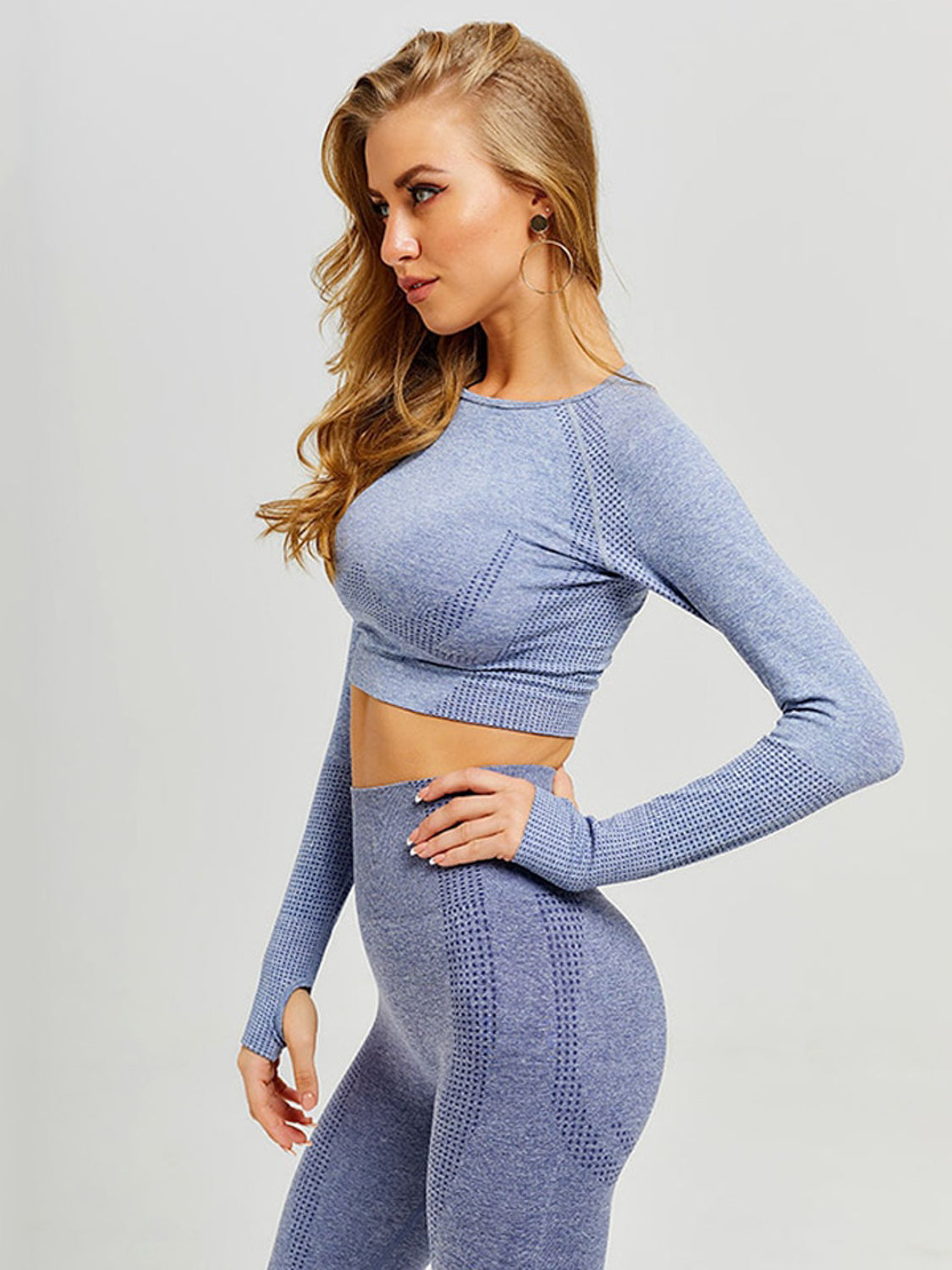 MOVI Sculpt+ Flex Sleeved Crop - BLUE