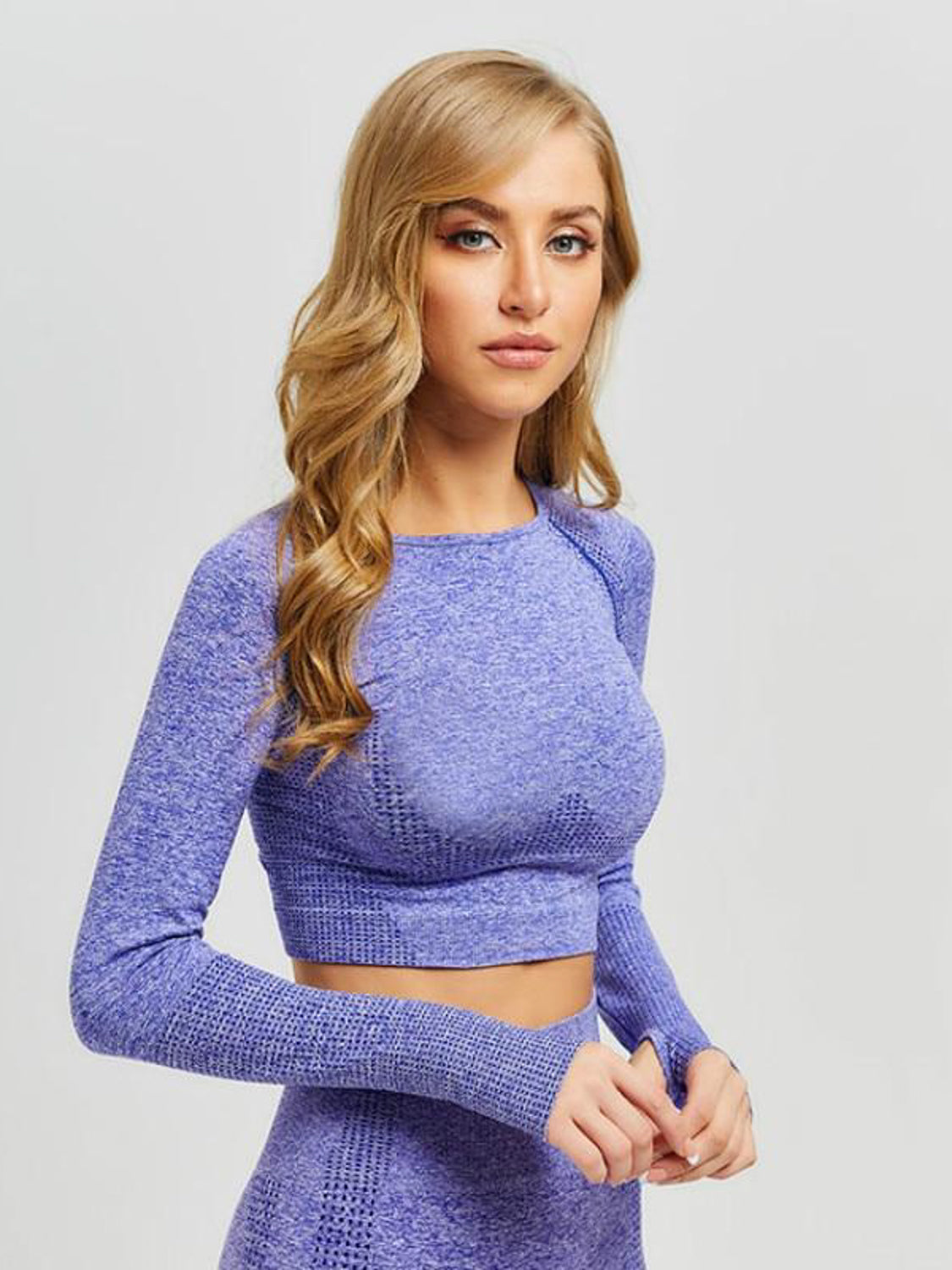 MOVI Sculpt+ Flex Sleeved Crop in Indigo