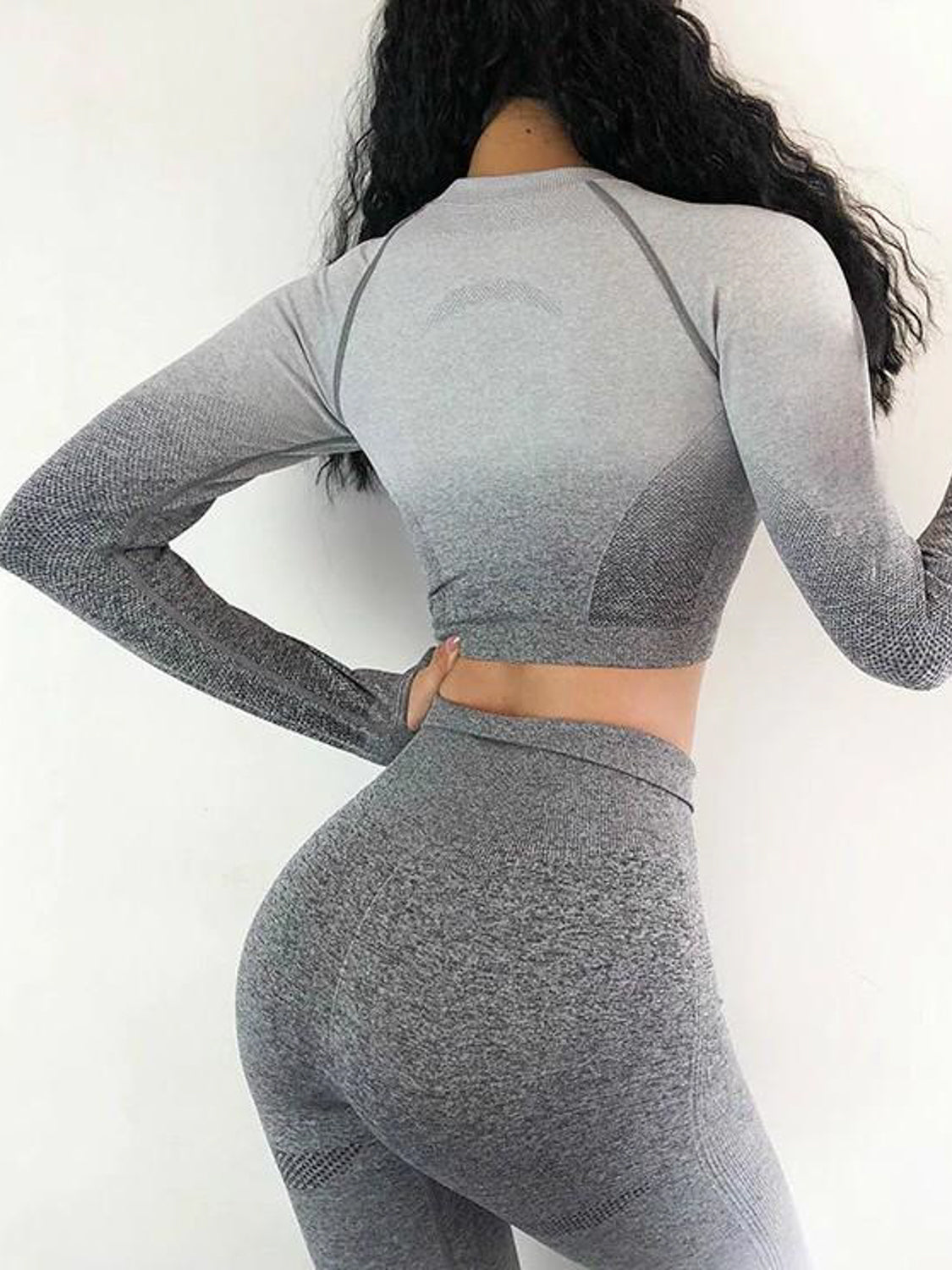 MOVI Sculpt+ Ombre Sleeved Crop - Grey