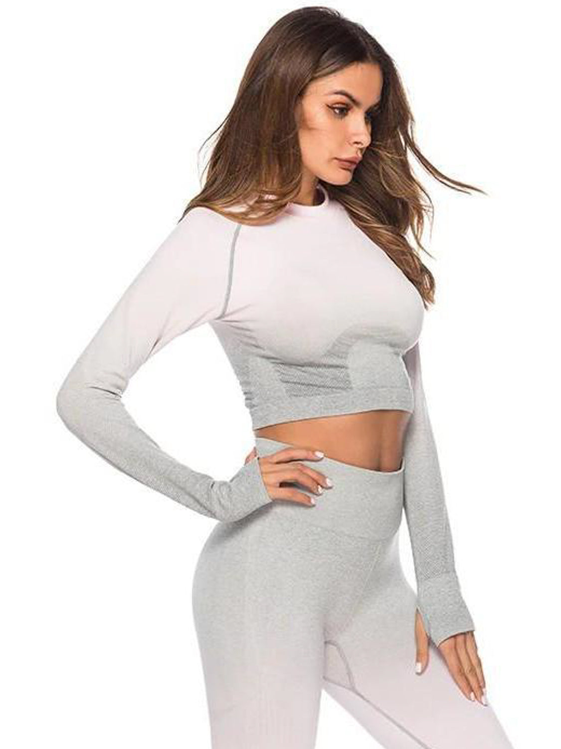 MOVI Sculpt+ Ombre Sleeved Crop - Light Pink/Grey