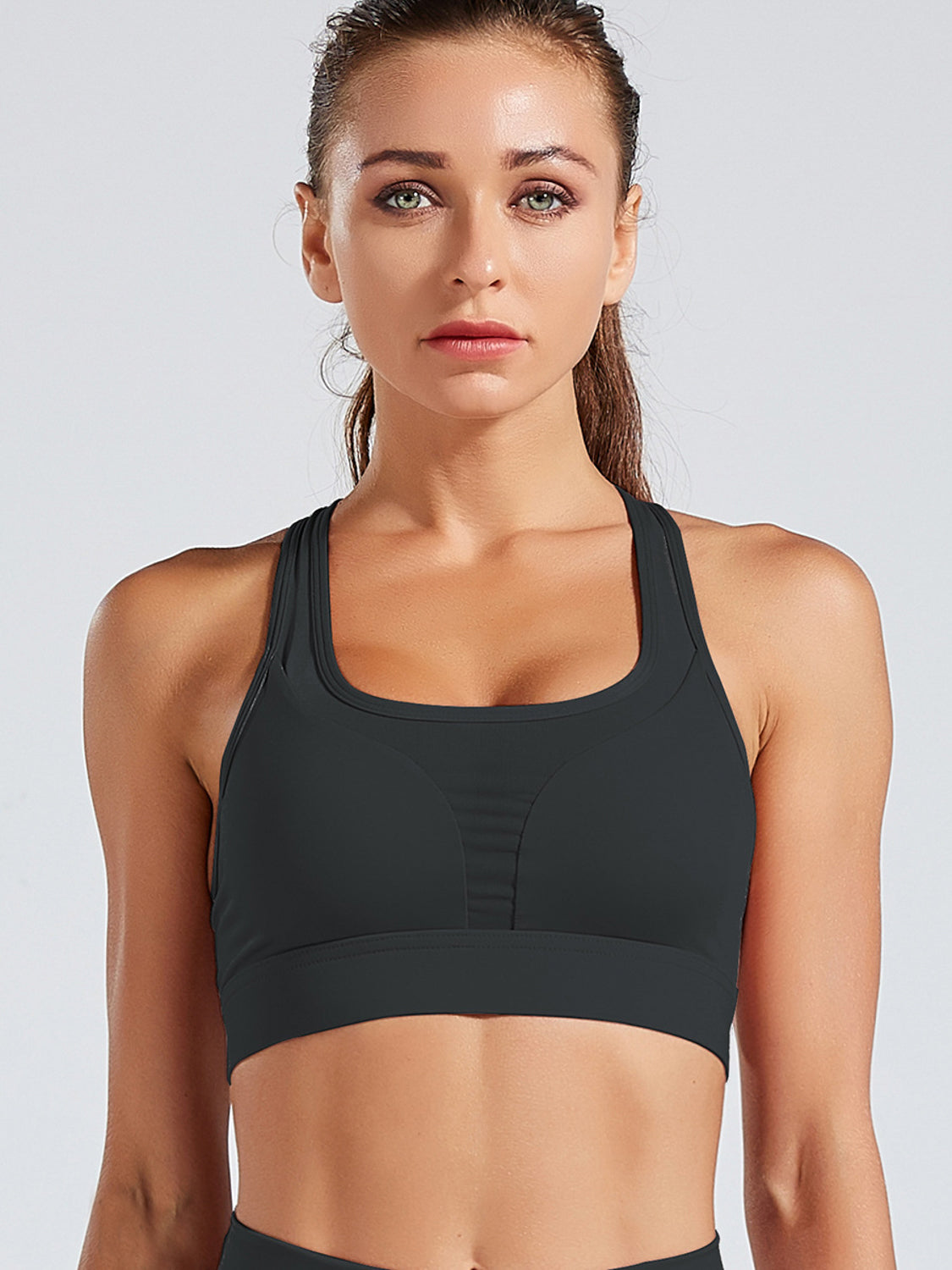 MOVI 'Never Give Up' Sports Bra (Black)