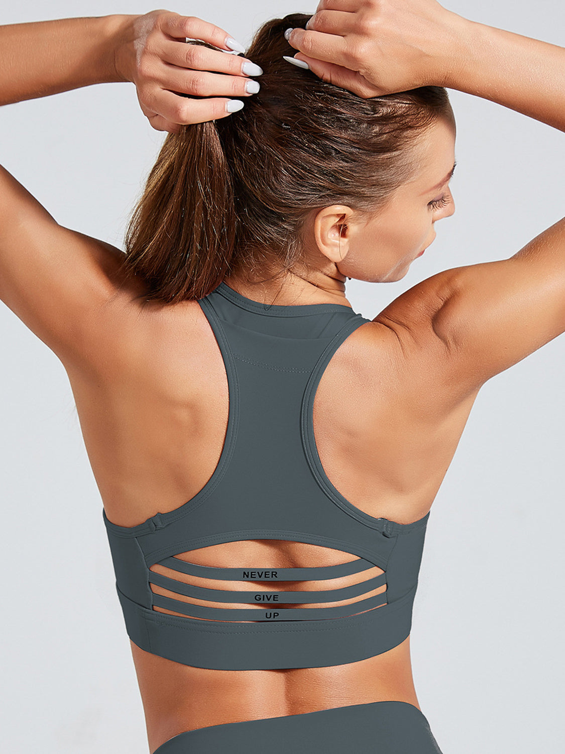 MOVI 'Never Give Up' Sports Bra (Graphite)