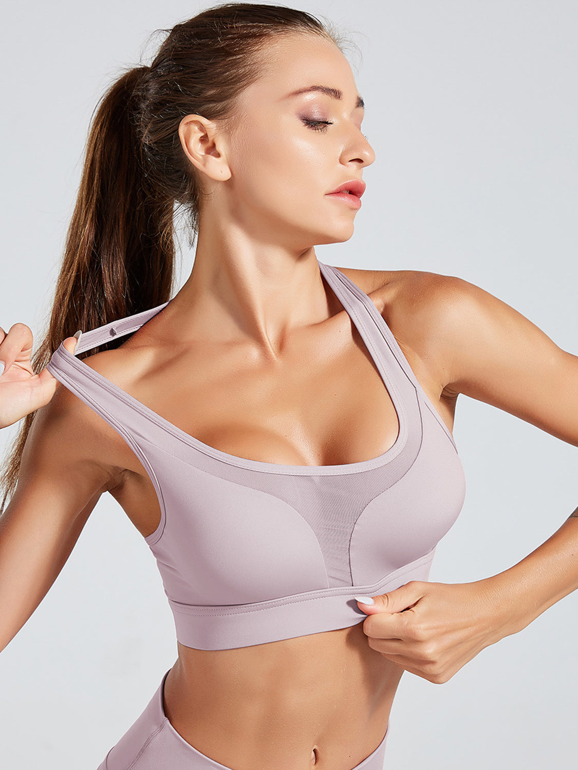 MOVI 'Never Give Up' Sports Bra (Lilac)