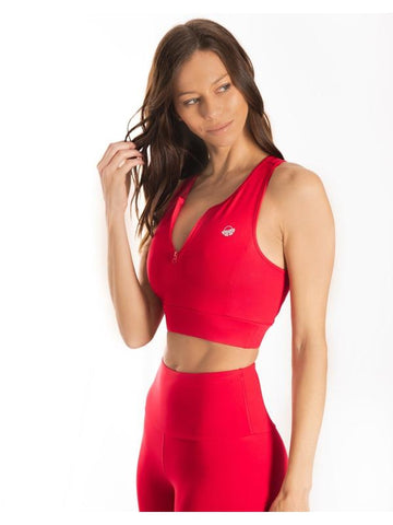 Red Ultra+ Zip Sports Bra