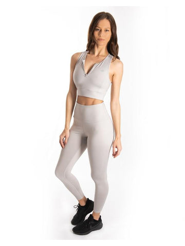 Grey Ultra+ Zip Sports Bra