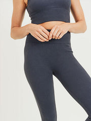 Lily Ribbed Leggings - BLACK