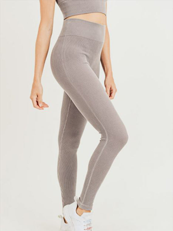 Lily Ribbed Leggings - MOCHA