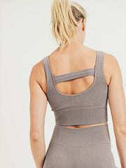 Lily Ribbed Sports Bra - MOCHA