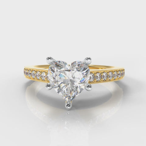 Heart Shaped lab grown diamond engagement ring