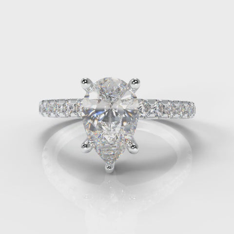 Pear shaped lab grown diamond engagement ring