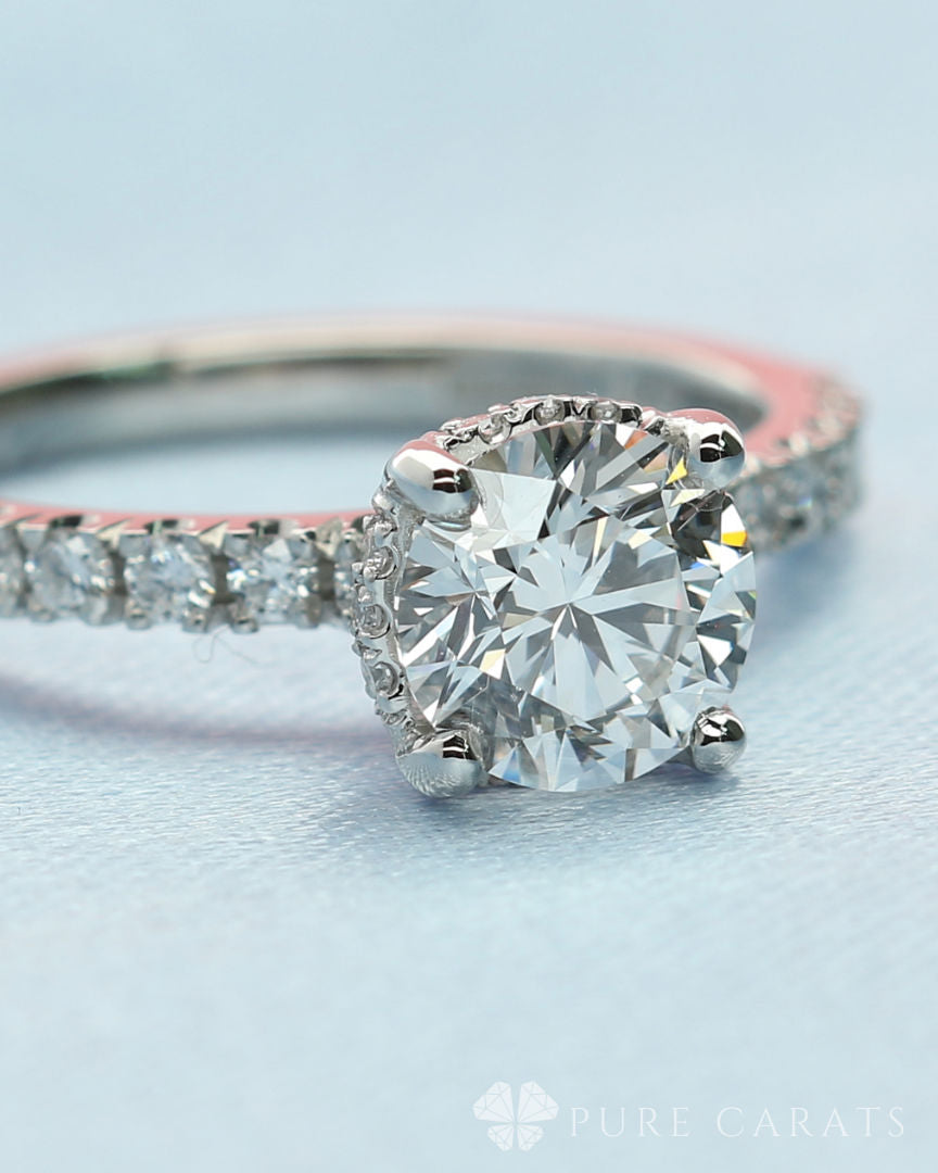 Engagement ring set with a round brilliant cut lab created diamond