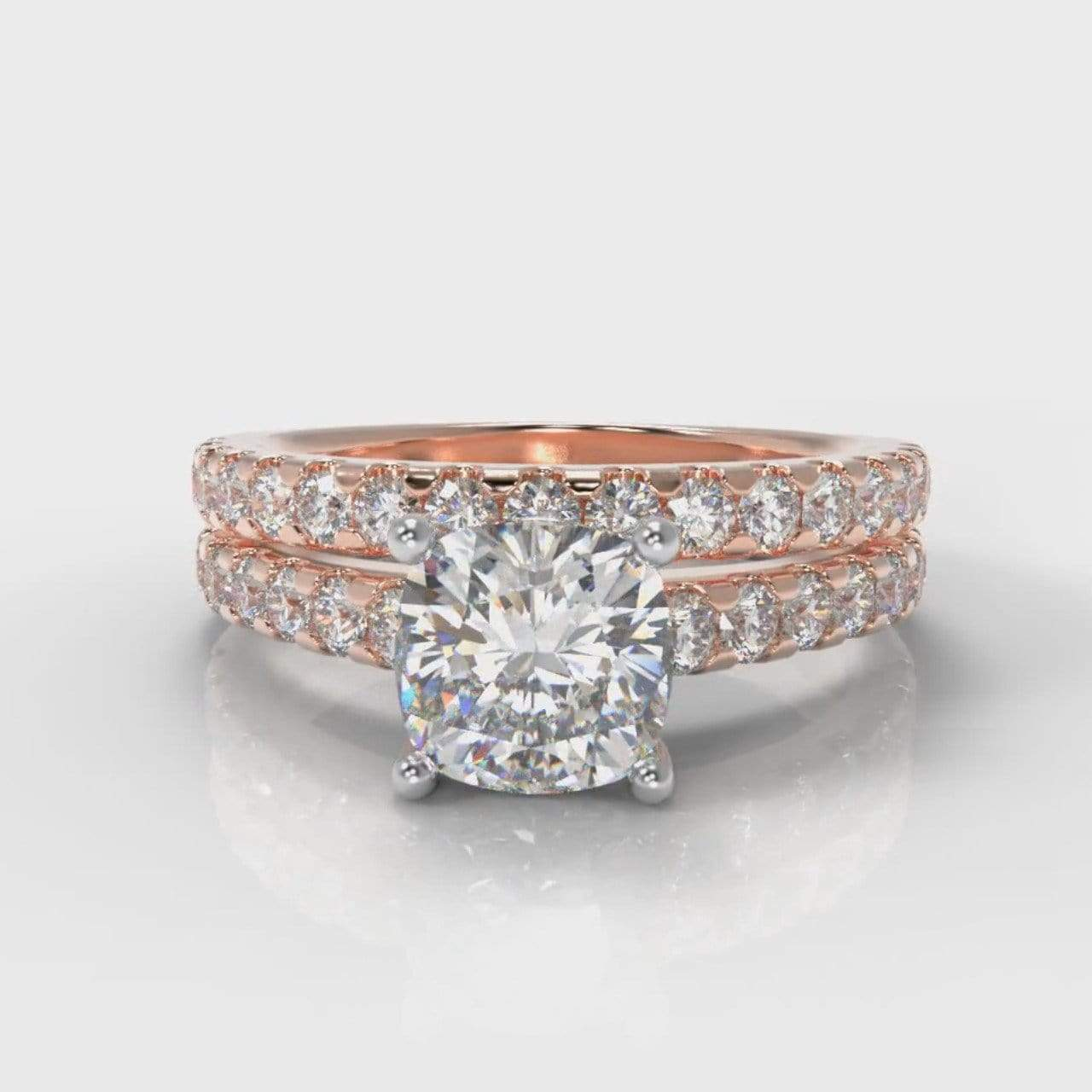 Castle Cushion Cut Lab Diamond Bridal Ring Set - Rose Gold-Ring Setting-Pure Carats-Pure Carats