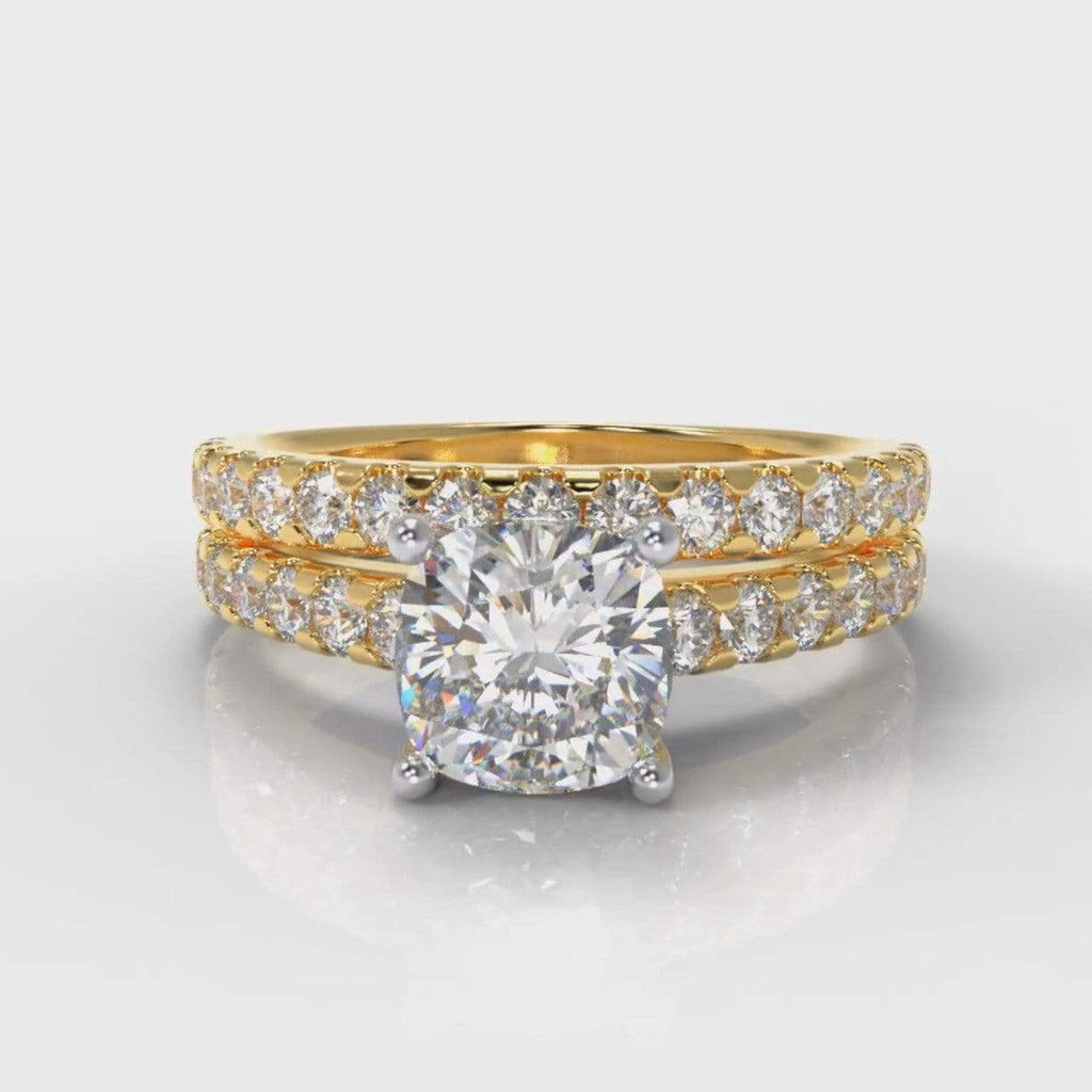 Castle Cushion Cut Lab Diamond Bridal Ring Set - Yellow Gold-Ring Setting-Pure Carats-Pure Carats