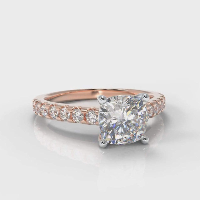Castle Cushion Cut Lab Diamond Engagement Ring - Rose Gold-Ring Setting-Pure Carats-Pure Carats