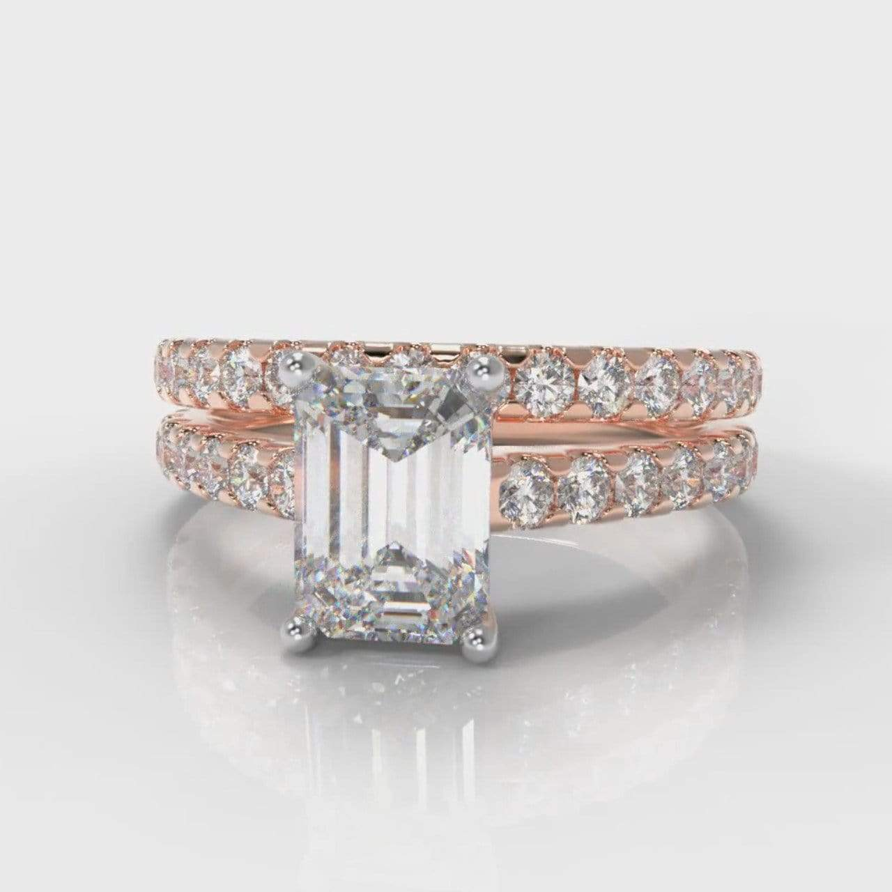 Castle Emerald Cut Lab Diamond Bridal Ring Set - Rose Gold-Ring Setting-Pure Carats-Pure Carats