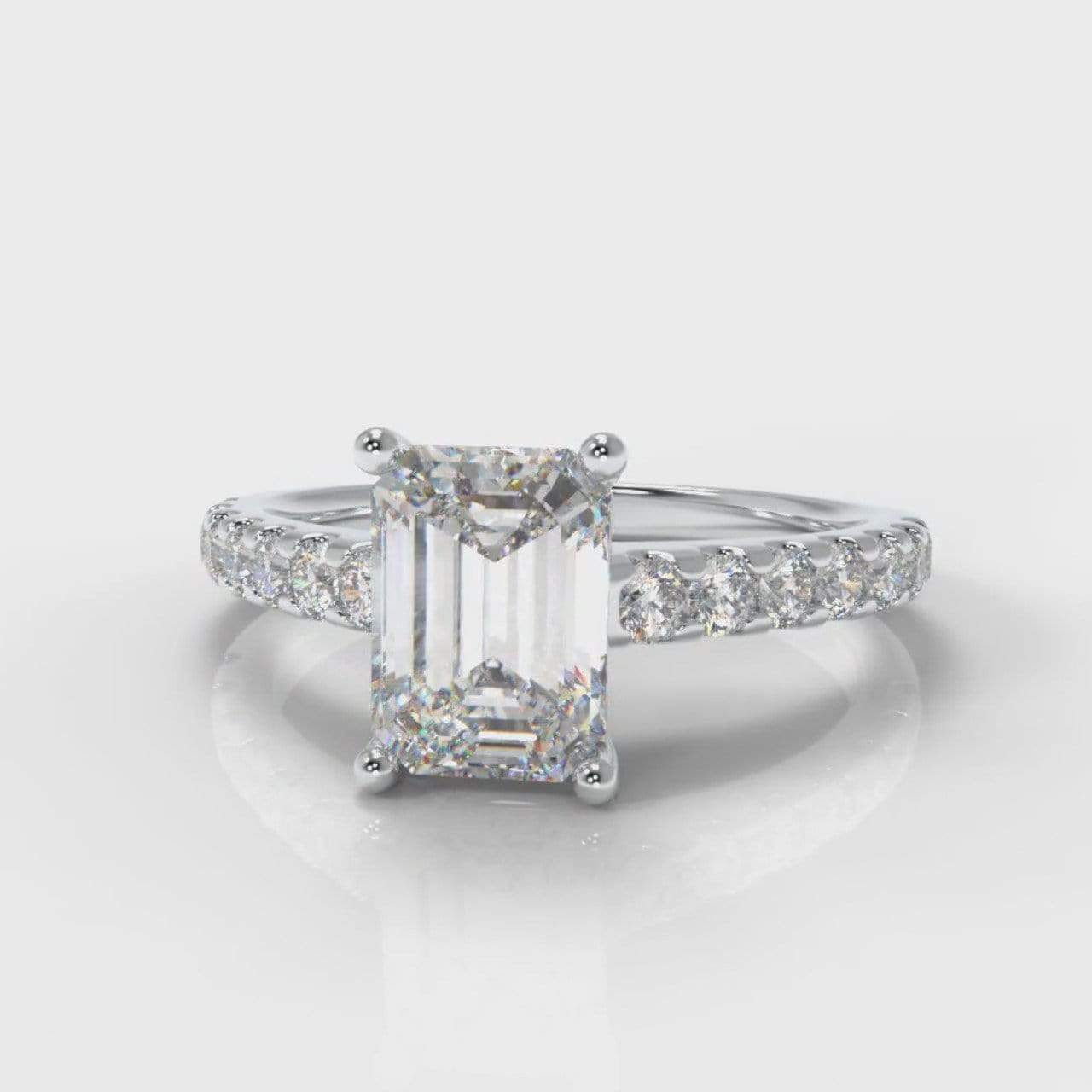 Castle Emerald Cut Lab Diamond Engagement Ring-Ring Setting-Pure Carats-Pure Carats