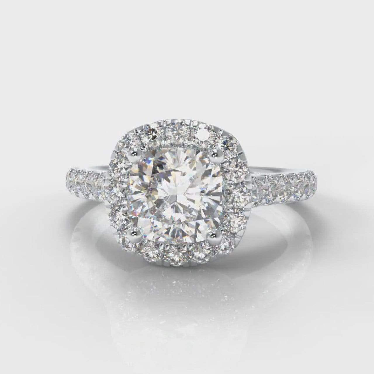Castle Halo Cushion Cut Lab Diamond Engagement Ring