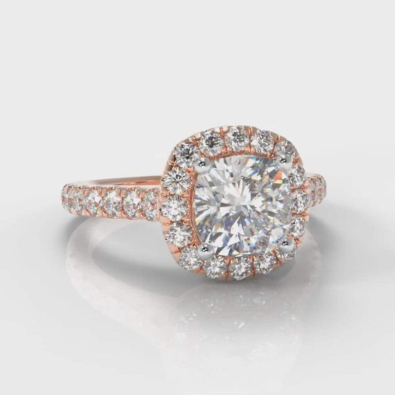 Castle Halo Cushion Cut Lab Diamond Engagement Ring - Rose Gold-Ring Setting-Pure Carats-Pure Carats