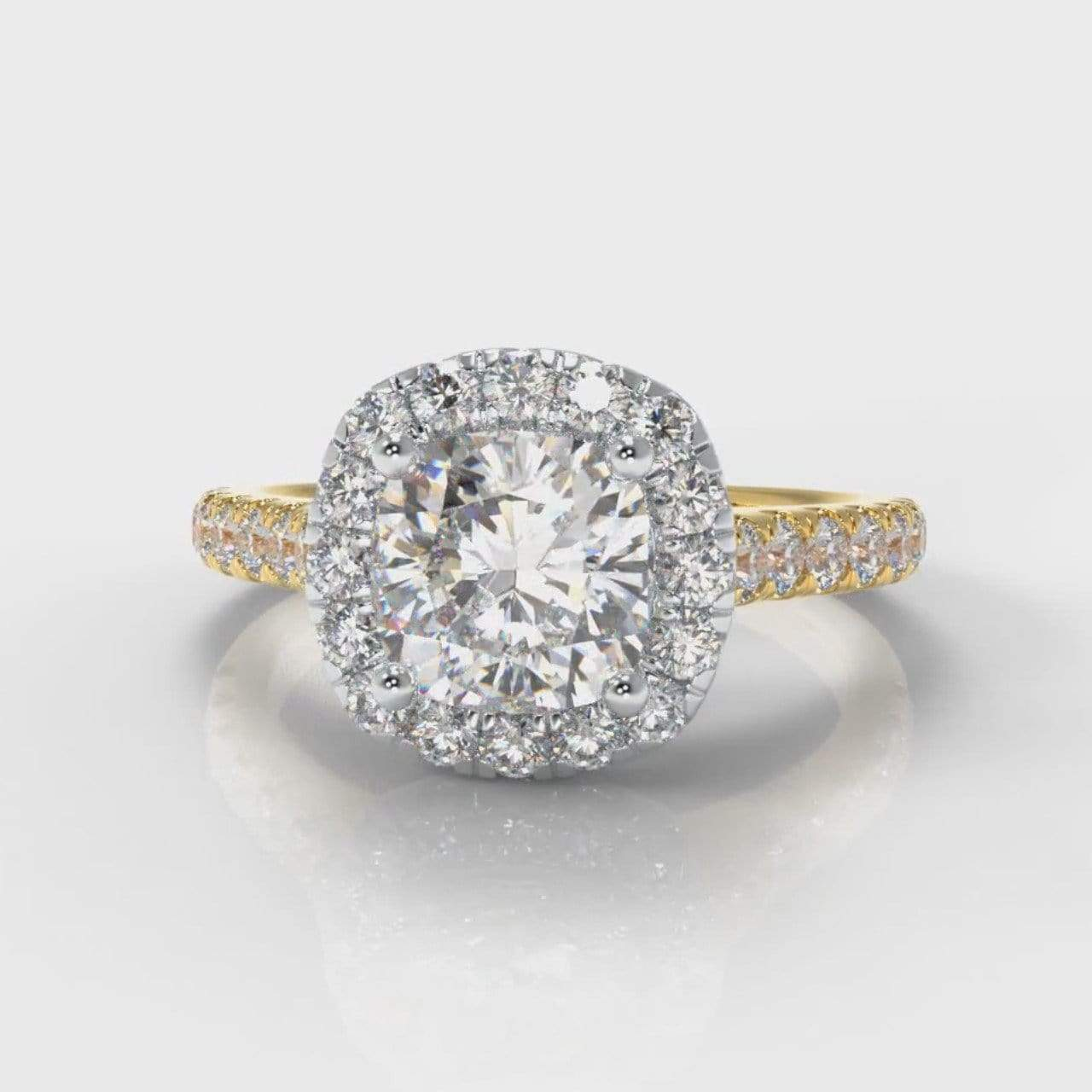 Castle Halo Cushion Cut Lab Diamond Engagement Ring - Two Tone Yellow Gold-Ring Setting-Pure Carats-Pure Carats