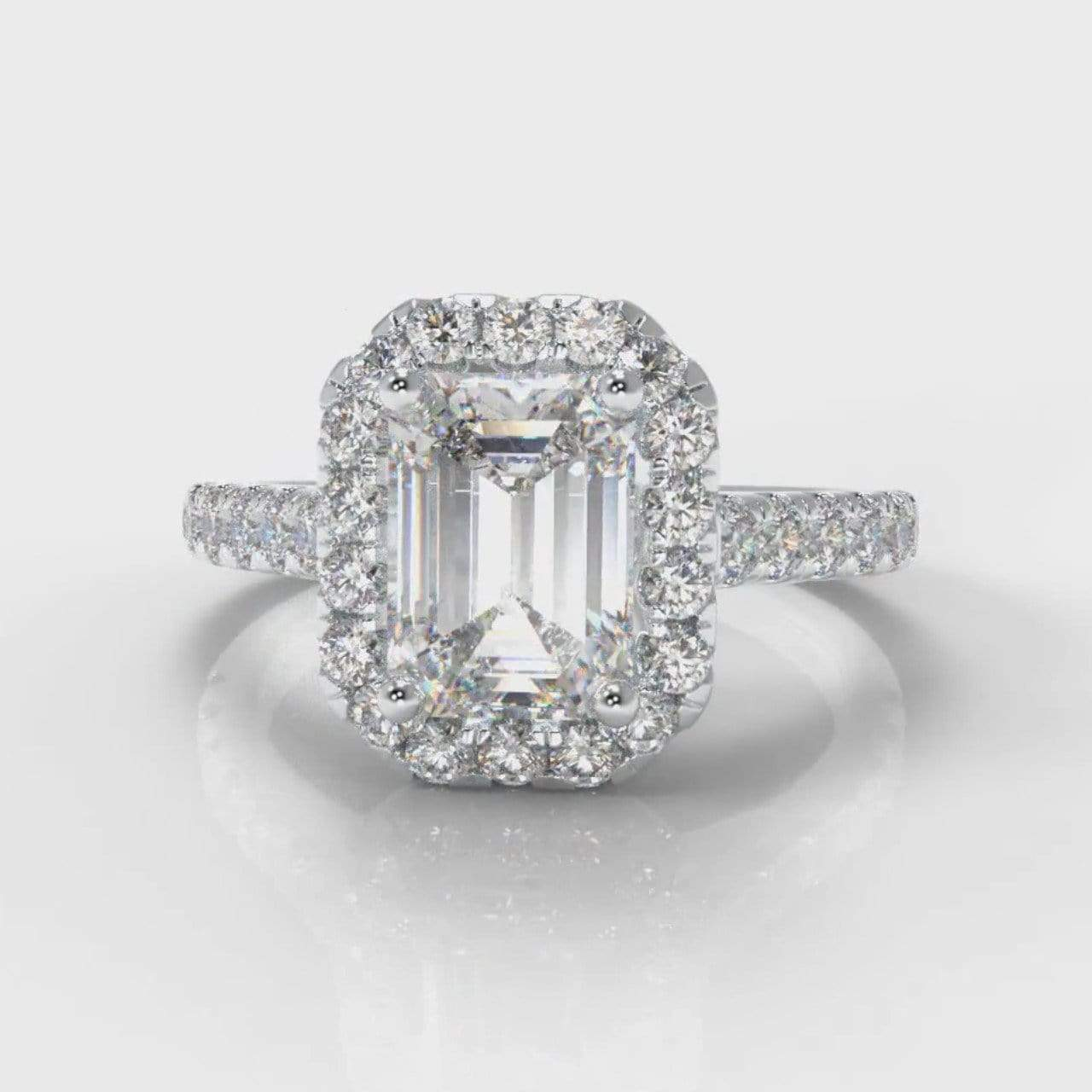 Castle Halo Emerald Cut Lab Diamond Engagement Ring
