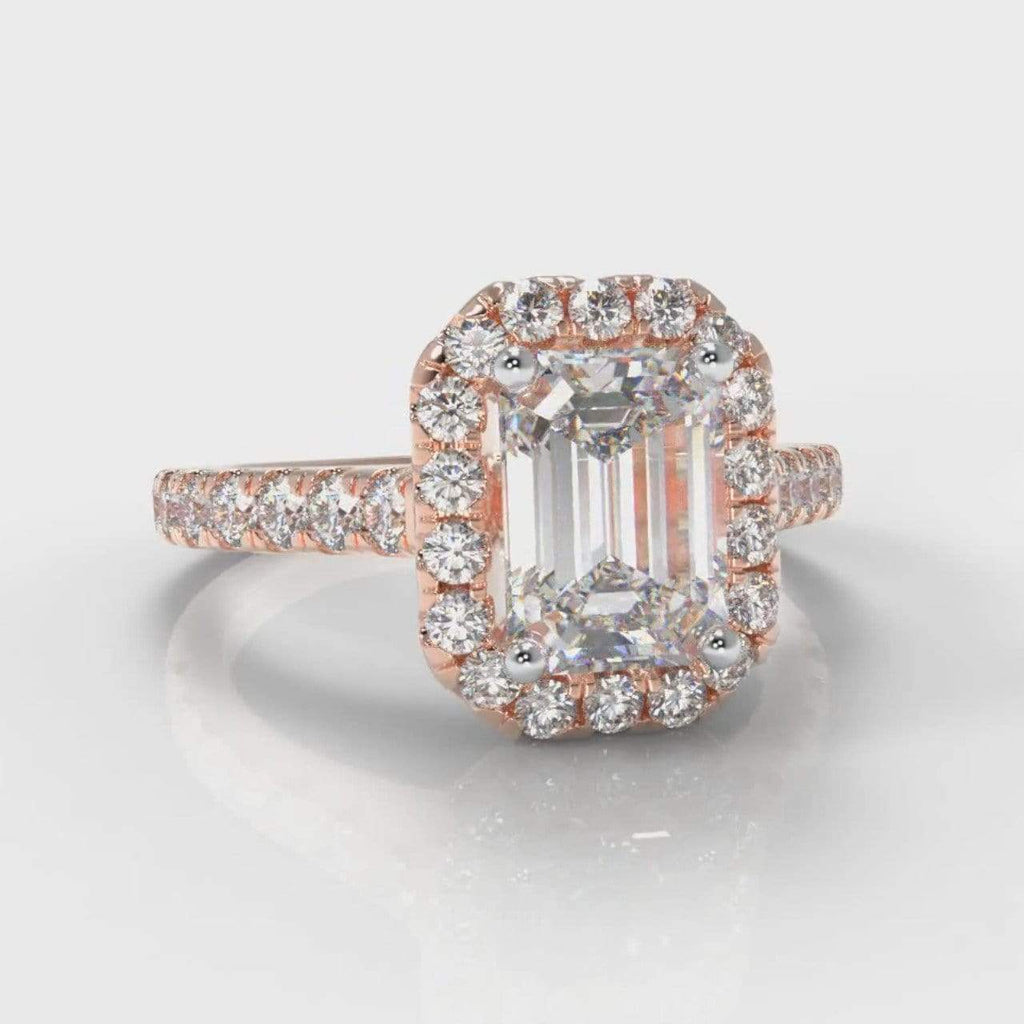 Castle Halo Emerald Cut Lab Diamond Engagement Ring - Rose Gold-Ring Setting-Pure Carats-Pure Carats